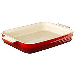 Le Creuset Stoneware 12-1/2-by-9-1/2-Inch Rectangular Baking Dish,  Cherry