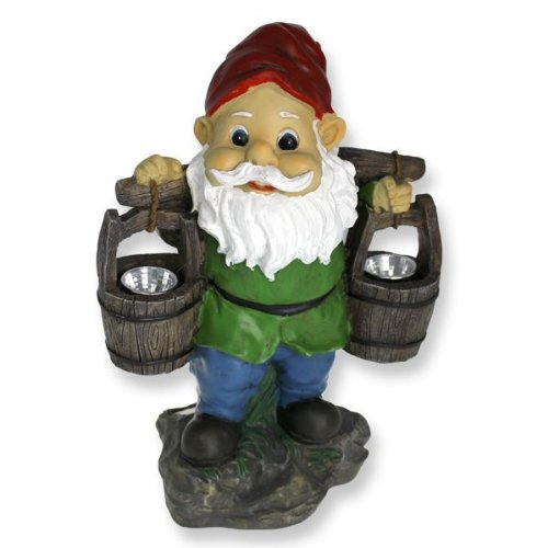 Solar Powered Gnome With Lit Pails Garden Ornament
