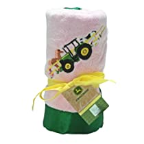 John Deere Fleece Blanket with Embroidered Satin Trim, Pink