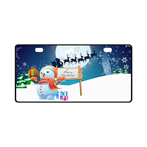 Merry Christmas Cute Snowman Strong And Durable Aluminum Car Metal License Plate Frame for Women/Men Two Holes Tag 11.8