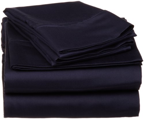 Egyptian Cotton 530 Thread Count Twin Xl Sheet Set Solid, Navy Blue back-910745