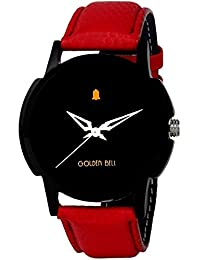 Golden Bell Original Black Dial Red Strap Wrist Watch For Men