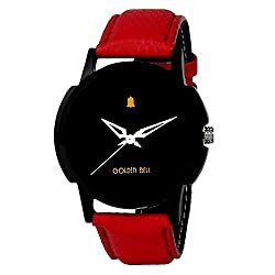 Golden Bell Original Analogue Black Dial Red Strap Wrist Watch For Men - GB-407BlkD