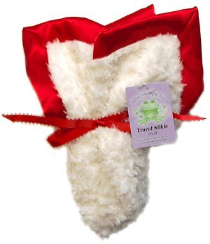 Travel Silkie Blanket In Vanilla Crème With Red Silky Satin Flat Trim front-320293