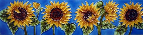 Continental Art Center MD-058 4 by 16-Inch Horizontal Sunflowers Ceramic Art Tile