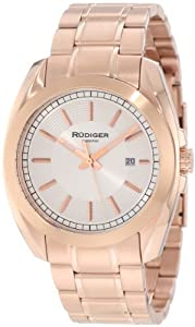Rudiger Men's R1001-09-001 Dresden Rose Gold IP Silver Dial Date Watch