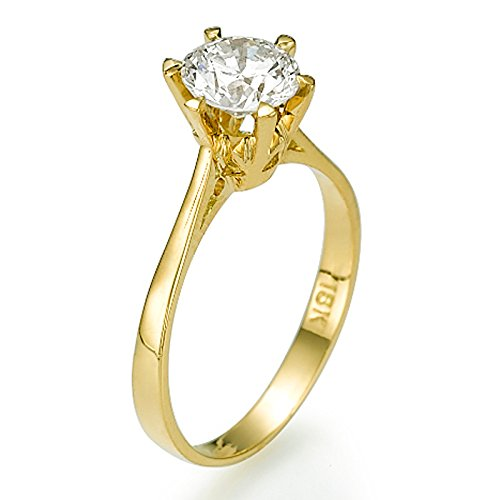 Yellow Gold Engagement Ring 0.30 CT Round Cut Natural Diamond E-F/I1-I2 18ct