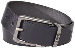 Buffalo by David Bitton Men's Flat Strap Belt, Black/Gray, Small