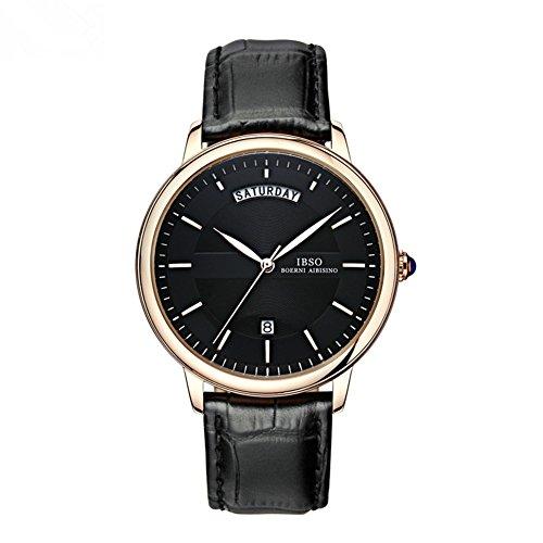 BINZI Waterproof Luxury Men Watch Fashion Quartz Watches with Black Genuine Leather Band,Gold (Aviator Watch Belt compare prices)