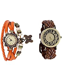 COSMIC COMBO ANALOG BUTTERFLY PENDENT BRACELET WATCH WITH LEATHER STRAP ANALOG WATCH FOR WOMEN - B01DY5JRL0