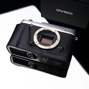 Gariz Genuine Leather XS-CHXE1BK Camera Metal Half Case for Fujifilm XE1 X-E1, Black