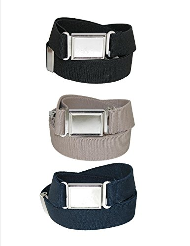 CTM® Kids Elastic 1 Inch Adjustable Belt with Magnetic Buckle (Pack of 3 Colors), Black / Navy / Khaki