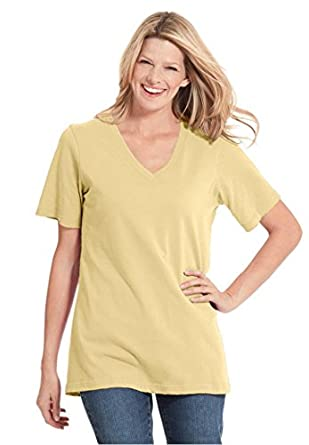 Women's Plus Size Top, In Soft Knit, The Perfect Cotton V-Neck Tee (Banana,M)