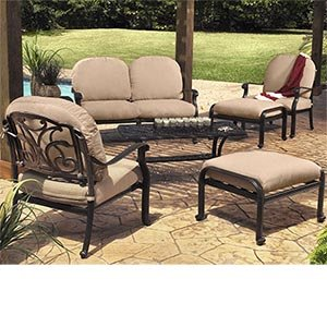 San Paulo 7-pc Deep Seating Collection Includes: Loveseat, 2 Club Chairs, 2 Ottomans, Side Table & Coffee Table