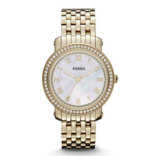 Fossil Emma ES3113 - Reloj analógico de cuarzo para mujer, correa de acero inoxidable color dorado (agujas luminiscentes)