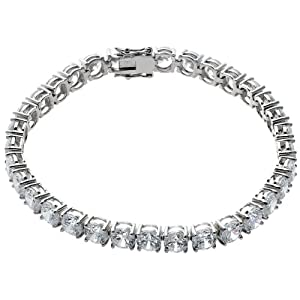 Sterling Silver 6mm Round Cubic Zirconia Tennis Bracelet, 7.25