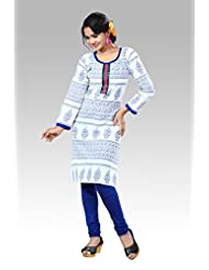 Arista Designer Ready To Wear White Kurti Size - 38 (KR97)