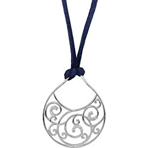 IceCarats Designer Jewelry Sterling Silver Sterling Silver 1/6 Ctw Diamond Navy Satin Cord 18 Necklace