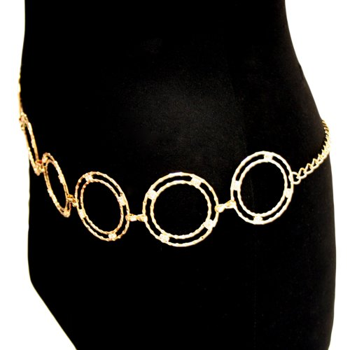 Gold Tone Double Circle Rhinestone Chain Link Belt