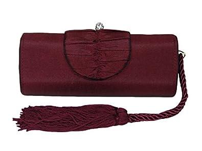 Burgundy Tassel Satin Evening Bag Handbag Clutch Shoulder Bag