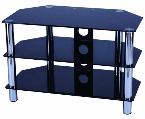 TV Stand, Black Glass with Chrome legs LED LCD Plasma Fits all TVs up to 32