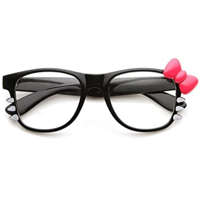 Womens Retro Fashion Kitty Clear Lens Glasses w/ Bow and Whiskers (Black Hot-Pink-Bow)