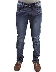 SNJ Mens Blue Slim Fit Mid Rise Dark Shade Knitted Denims (SU2206 J (D))
