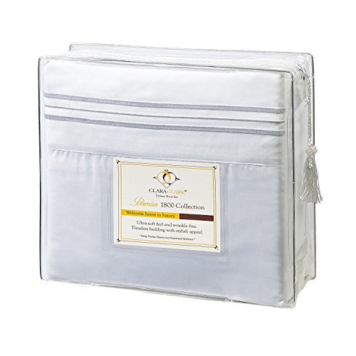 Best Price Clara Clark 1800 Premier Series 4pc Bed Sheet Set - King, White,
