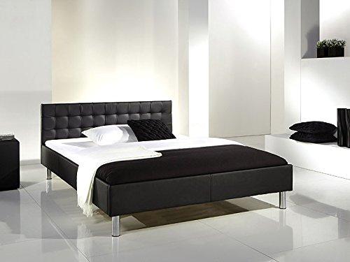 Polsterbett Bett Fain schwarz 140x200 cm Kunstleder Doppelbett Ehebett Bettgestell