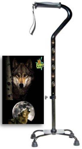 Adjustable Quad Small Base Gel Grip Walking Cane Wolf Design