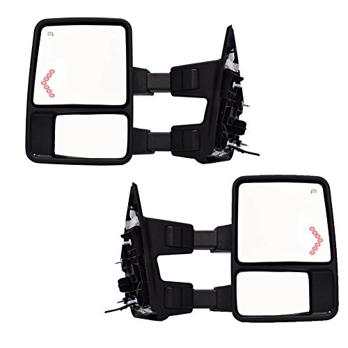 DEDC Pair 08-15 Ford F250 F350 F450 Towing Mirrors Power Heated With Red LED Signal Light ARROW Side View Mirrors For Super Duty 2008 2009 2010 2011 2012 2013 2014 2015 (2008 Super Duty Mirrors compare prices)