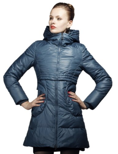Maxchic Women's Glamor Faux Two-Pieced Hoody Parka Down Coat D04186S12C,Blue,Medium