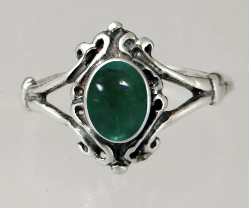 An Elegant Sterling Silver Victorian Ring Featuring a Lovely Fluorite Gemstone