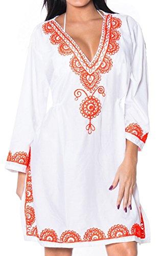 Beach Wear Bikini Cover Up Rayon Designer Embroidered Swimsuit Dress M - L White