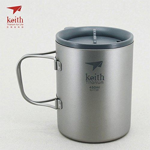 Keith Titanium Double-Wall Mug with Folding Handle and Lid - 15.2 fl oz