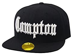 Compton Flat Bill Snapback Black Adjustable Baseball Cap Hat A.F