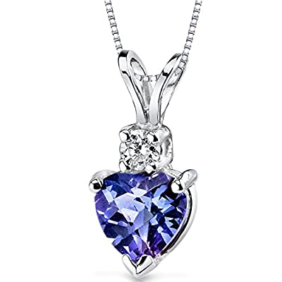 Revoni 14ct White Gold Heart Shape Gemstone Diamond Pendant Necklace