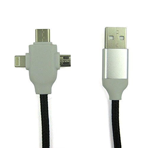 Multiple USB Adapter Charging Cable 6ft(1.83M) 3 in 1 Connector Lightning / Micro USB / Type-C for iPhone and Android (Micro Usb Adapter Multiple compare prices)