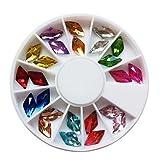 Evermarket(Tm) 24 Pcs 12 Color Glitter Diamond Shaped Rhinestones Nail Art Decorations