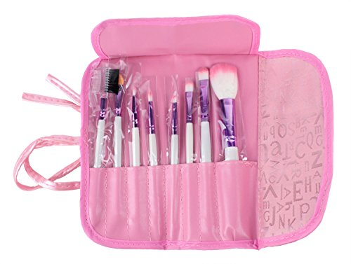 FOONEE 8pcs Professional Cosmetic Makeup Brush Set With Pink Letter Print Bag