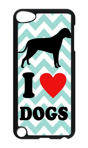 iPod 5 Case,VUTTOO Cute I Love Dogs Aqua Chevron Hard Case Protective Shell Cell Phone Cover For iPod Touch 5 - PC Black