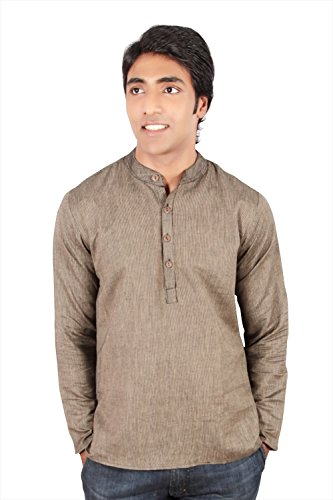 Indian Clothing Men's Short Kurta Tunic Banded Collar with Stripe Pattern
