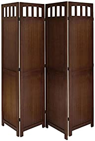 Legacy Decor 4 Panel Solid Wood Room Screen Divider Walnut