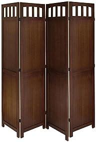 Legacy Decor 4 Panel Solid Wood Room Screen Divider Walnut