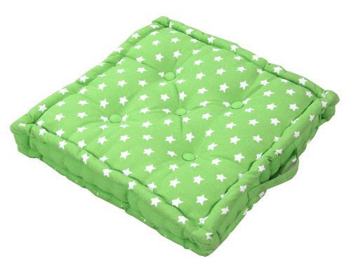 Homescapes - Star Green - 100% Cotton - Floor Cushion - Green White - 40 x 40 x 10 cm Square - Indoor - Garden - Dining Chair Booster - Seat Pad Cushion.