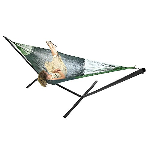"Sunnydaze Green Double Size 180 "" Mayan Hammock and Black Stand Combo"