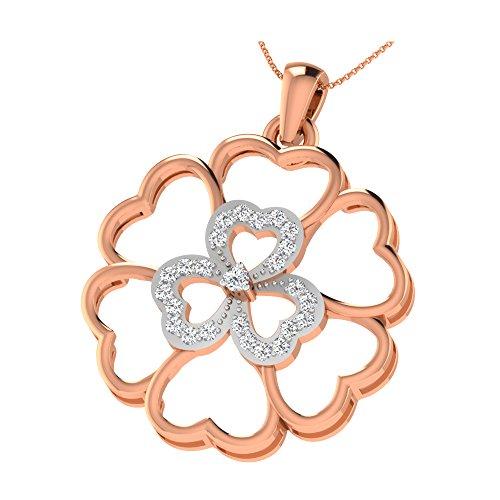 CARASHOP Ciondolo Argento 925piano cottura oro rosa serti di diamante in forma di fiore Donna