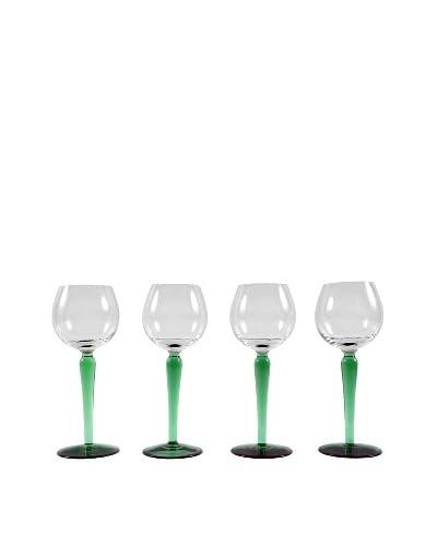 Set of 4 French Malachite Stem Wine Glasses