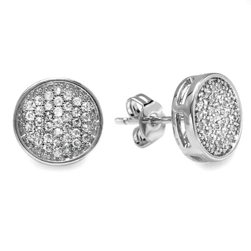 Platinum Plated Clear CZ Cubic Zirconia Round Shaped Hip Hop Iced Cube Stud Earrings (9.5 mm x 9.5 mm )