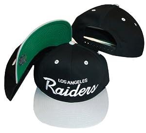 Los Angeles Raiders Black/Silver Two Tone Plastic Snapback Adjustable Plastic Snap Back Hat / Cap
